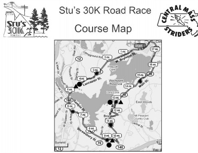 Stu's 30K Relay Course Map.