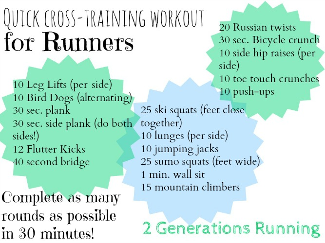 Cross-training workout for runners. 2 Generations Running.