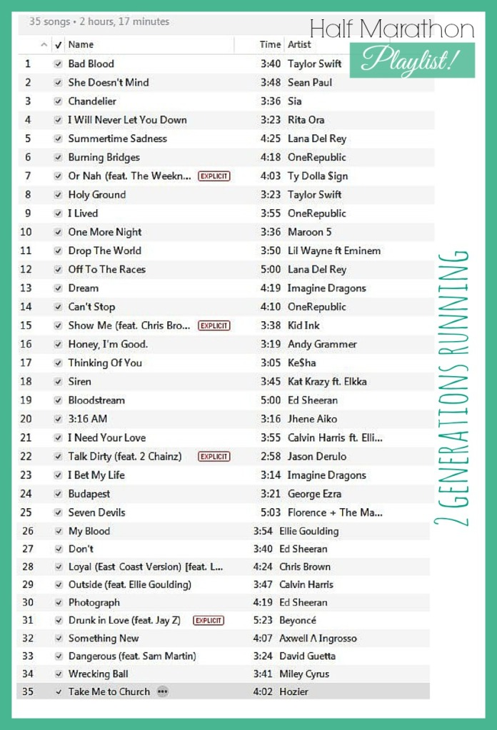 Half Marathon Playlist | 2 Generations Running
