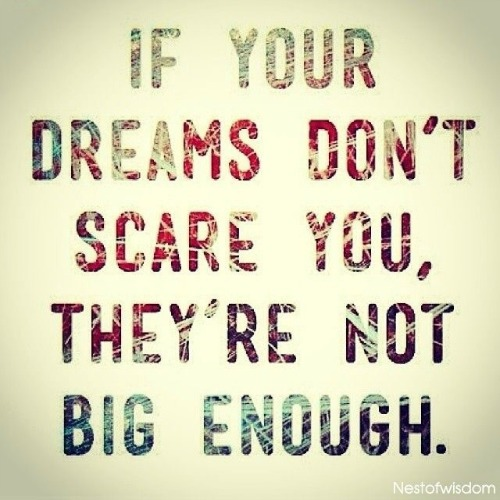 """If your dreams don't scare you, they're not big enough 