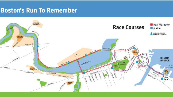 Boston Run to Remember Course Map