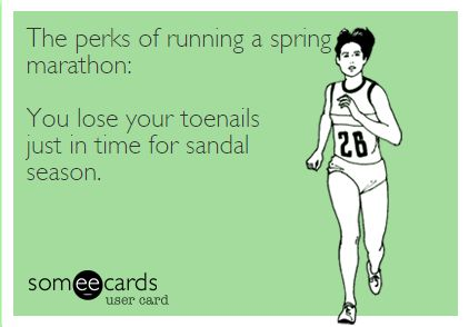 The perks of running a spring marathon meme | 2 Generations Running