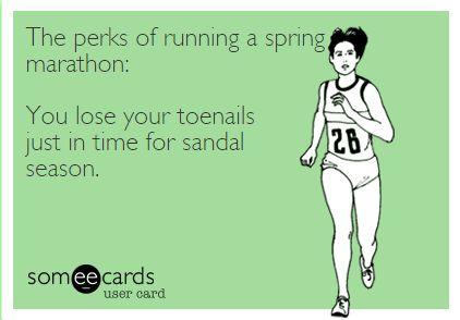 The perks of running a spring marathon meme | 2 Generations Running